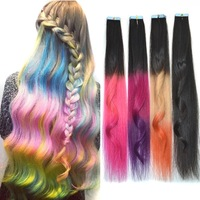 USA fashion popular sales 25inch tape hair extension human more color