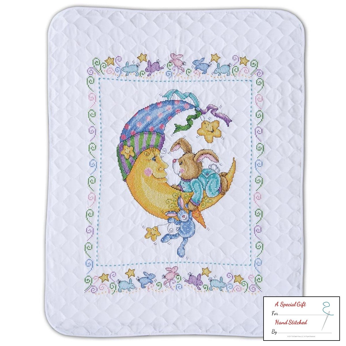 get quotations tobin bunny and moon baby quilt stamped cross stitch kit t21761 34 by