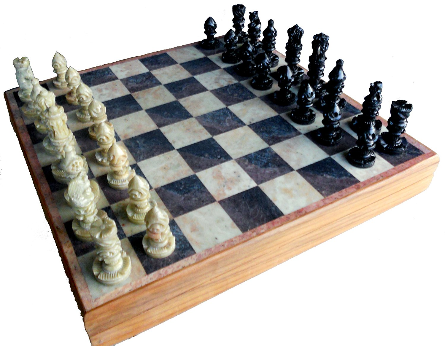 Buy Stonkraft Handcarved Wooden Stone Inlay Chess Game Board Set
