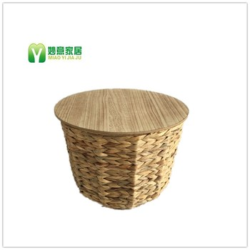 Wooden Coffee Table Water Hyacinth Storage Basket With Lid   Buy Grass  Coffee Tables,Tea Table,Seagrass Storage Baskets With Lids Product On ...