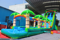 2017 Cheap commercial giant tropical palm tree inflatable water slide for sale
