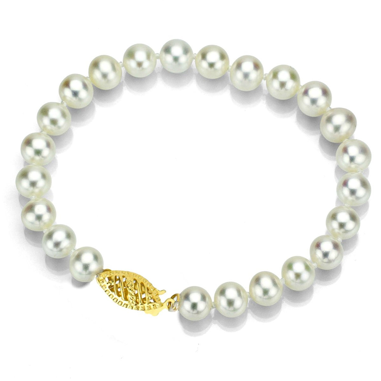 "La Regis Jewelry 14k Yellow Gold 7-7.5mm White Freshwater Cultured High Luster Pearl Bracelet, 7"""