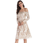 Hot sale women O neck party dress beauty long sleeve lace evening cocktail party dress