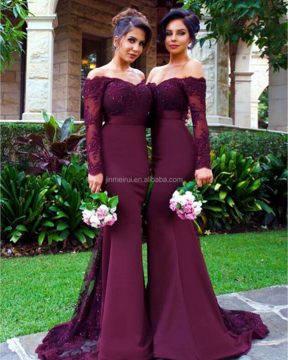 Real Pictures Off-The-Shoulder Wedding Party Dress Beaded Backless Satin Sleeveless Mermaid Bridesmaid Dress