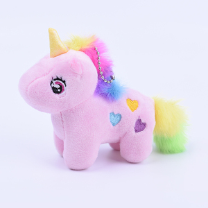 Wholesale High Quality Children Soft Toy Pink Plush Unicorn Keychain For Decorative & Pendant