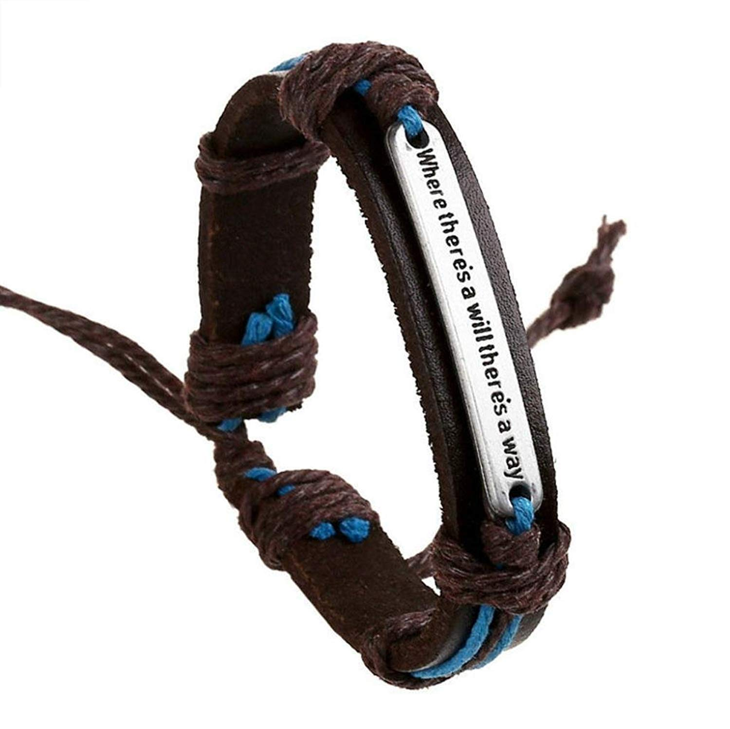 """Vibola """"where theres a will theres a way""""English Punk Retro Fashion Bracelet Cowhide Alloy Hemp Rope Bracelet"""