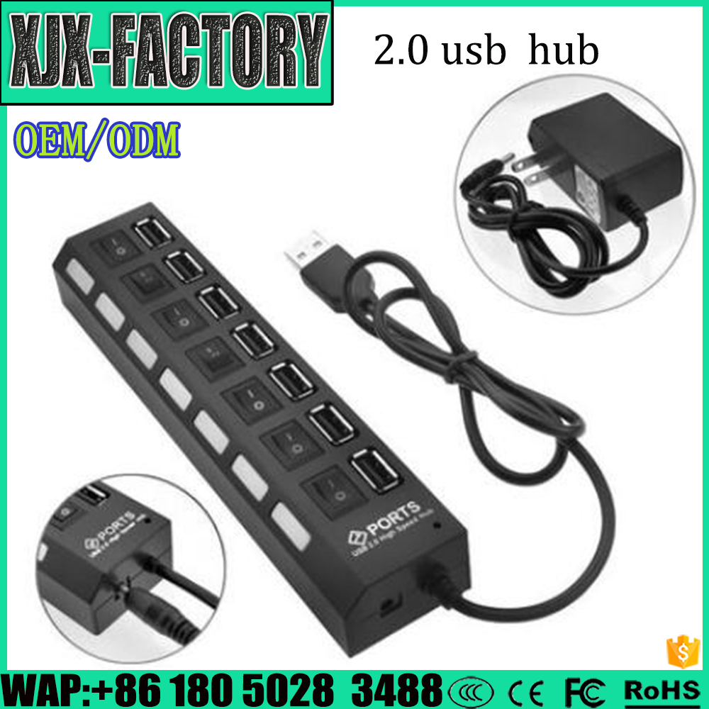 POPULAR High Speed USB 2.0 Hub 7 Ports Portable USB Hub 480 Mbps On/Off Switch Hub USB Splitter Adapter For PC Laptop