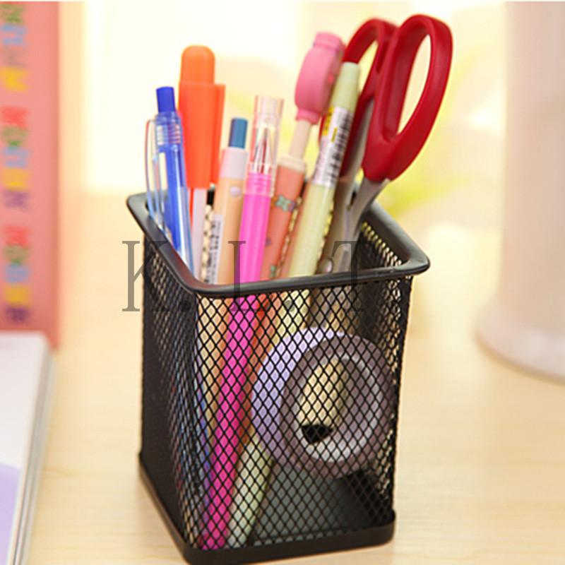 1PCS fashion Steel Metal square Mesh Metal Pencil Holder ...