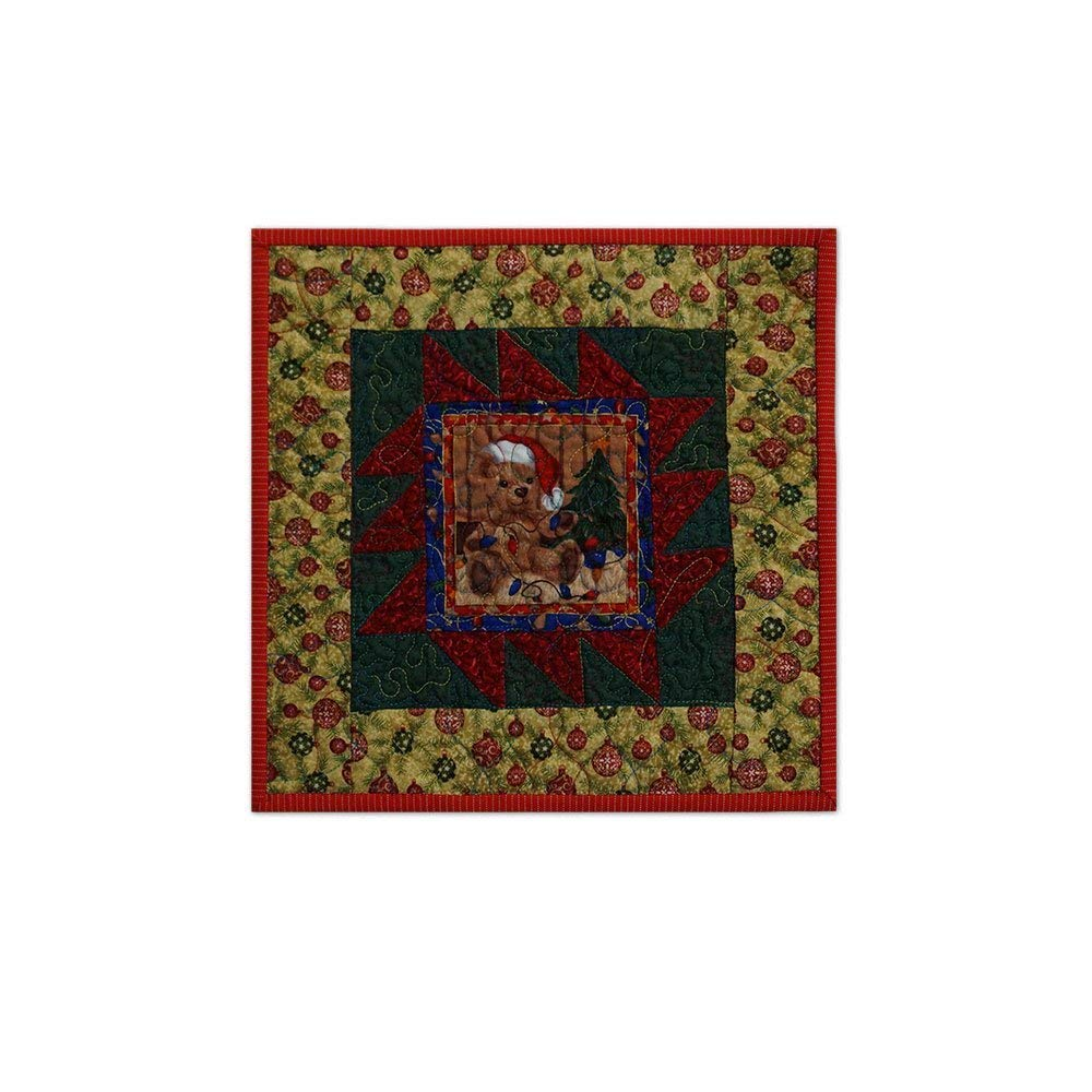 Get Quotations Christmas Mug Rug Holiday Teddy Bear Quilted Free Usa Shipping Candle Mat Desk Coaster