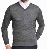 Men's' V neck long sleeve pullover knitted sweater with fully fashion along neckline