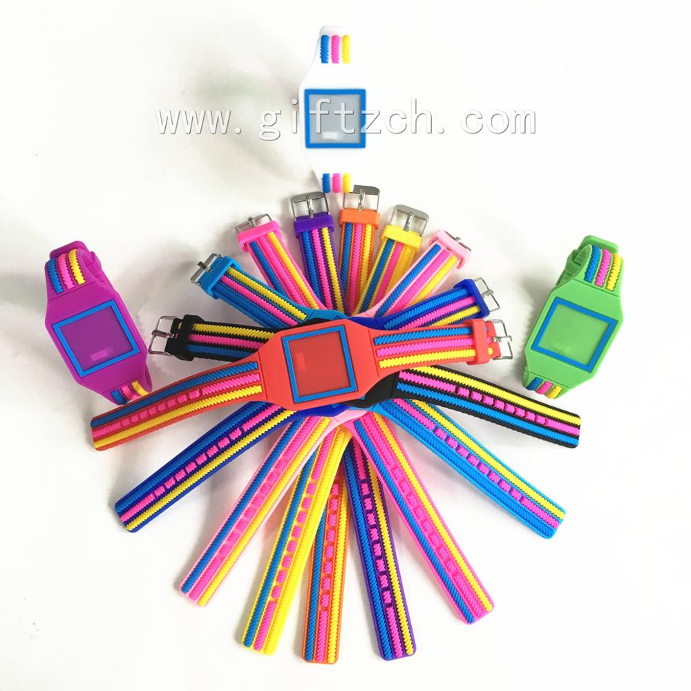 Rainbow Square screw Kids children Silicone touch LED watch