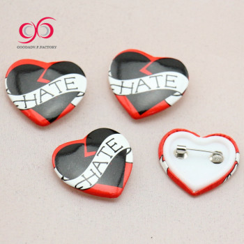 Wholesale price custom design heart shape badges tin pin button badge buttons