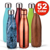Cola Shaped 17oz 500ml Stainless Steel Sports Water Bottle Wood Double Wall Vacuum Insulated Coke Cola Shape Water Bottle