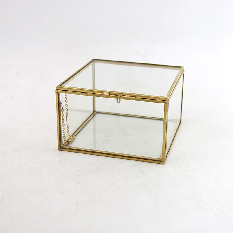 Gold Glass Jewelry Box, Gold  Glass Dried Flower Box for Preserved Roses