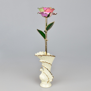 craft art 24K Gold Plated Rose Flower With peahen Ceramic vase