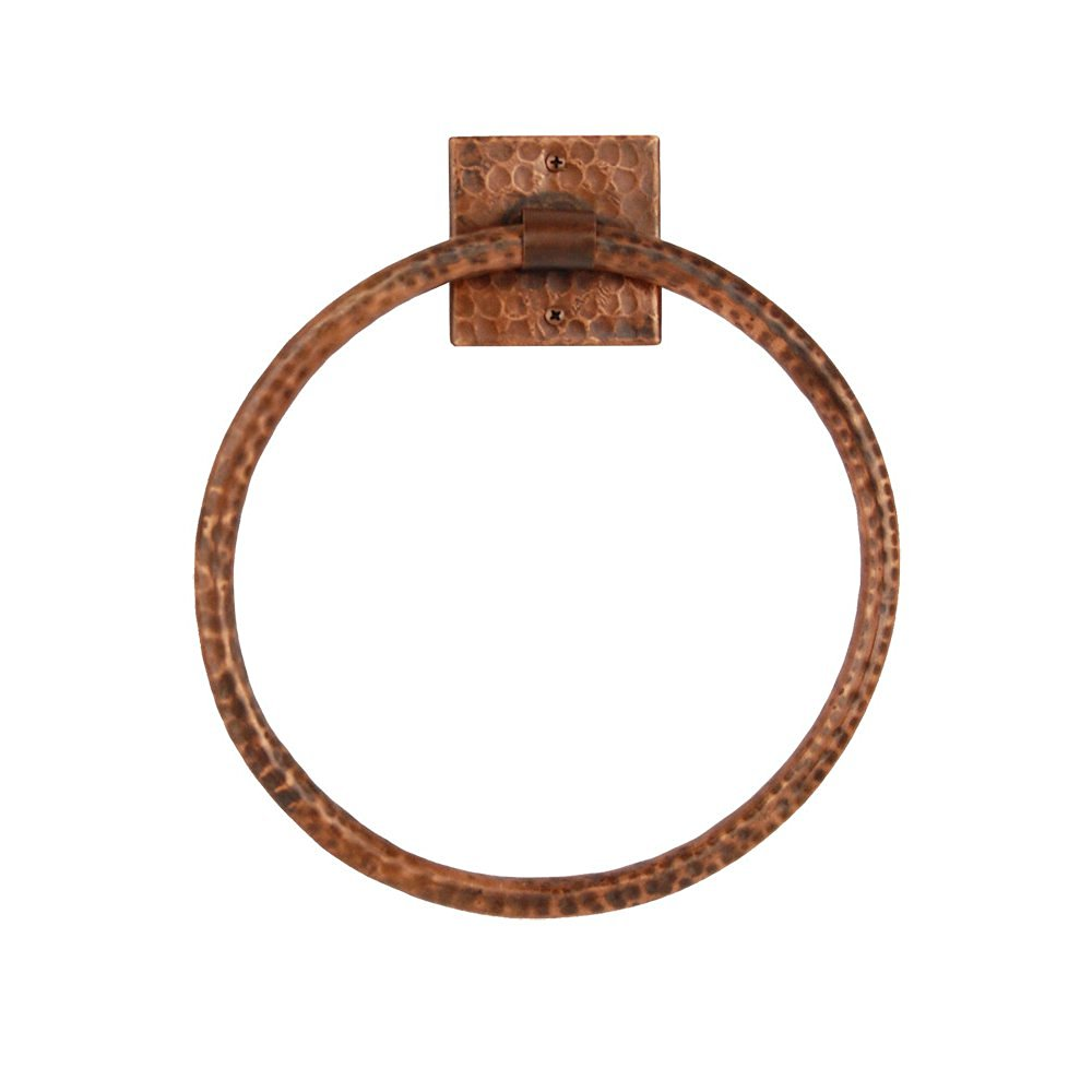 Premier Copper Products TR10DB 10-Inch Hand Hammered Copper Full Size Bath Towel Ring, Oil Rubbed Bronze