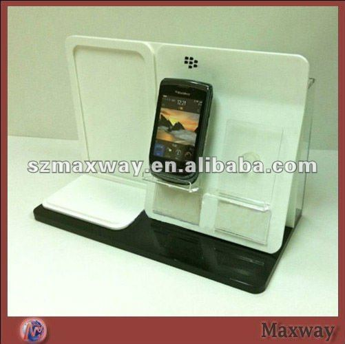 Elegant white polished Acrylic/lucite Mobile Phone/Handphone/Cell Phone /camera/MP4 Display Stand/Holder/standee