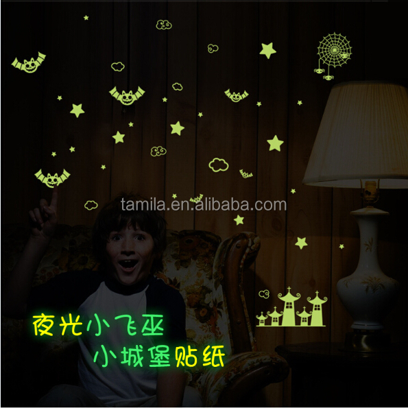 shining glow dark ceiling stickers and Halloween Flying Bat night glow wall stickers