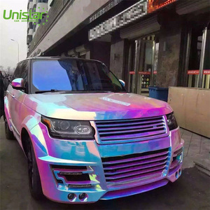 High grade auto wholesale wrapping mirror iridescence chrome self adhesive holographic vinyl rainbow film sticker PVC material