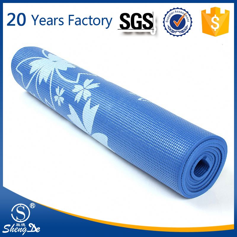 high quality blue yoga mat with carrying strap