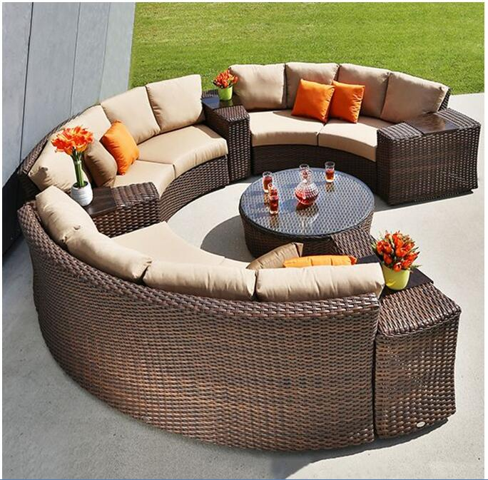 2017 Hot sale espresso country wicker outdoor patio garden parts ashley sofa sets furniture