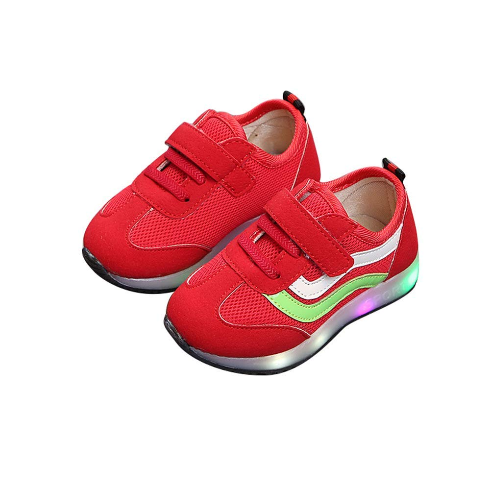 unyielding1 Kids Boys Girls LED Light up Shoes Fashion Sports Sneakers(Red 24/7.5MUSToddler)