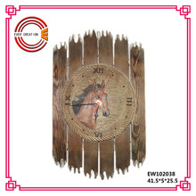decorative antique hand carved horse design wooden wall clock