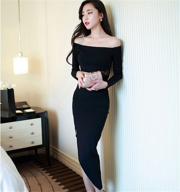 Women sexy tight fitted off shoulder one leg slit evening party dress