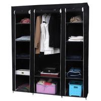Non-woven Fabric wardrobe Storage Organizer with Shelves Black