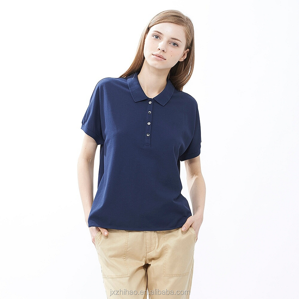 bulk plain female polo t-shirts cotton design women's clothing