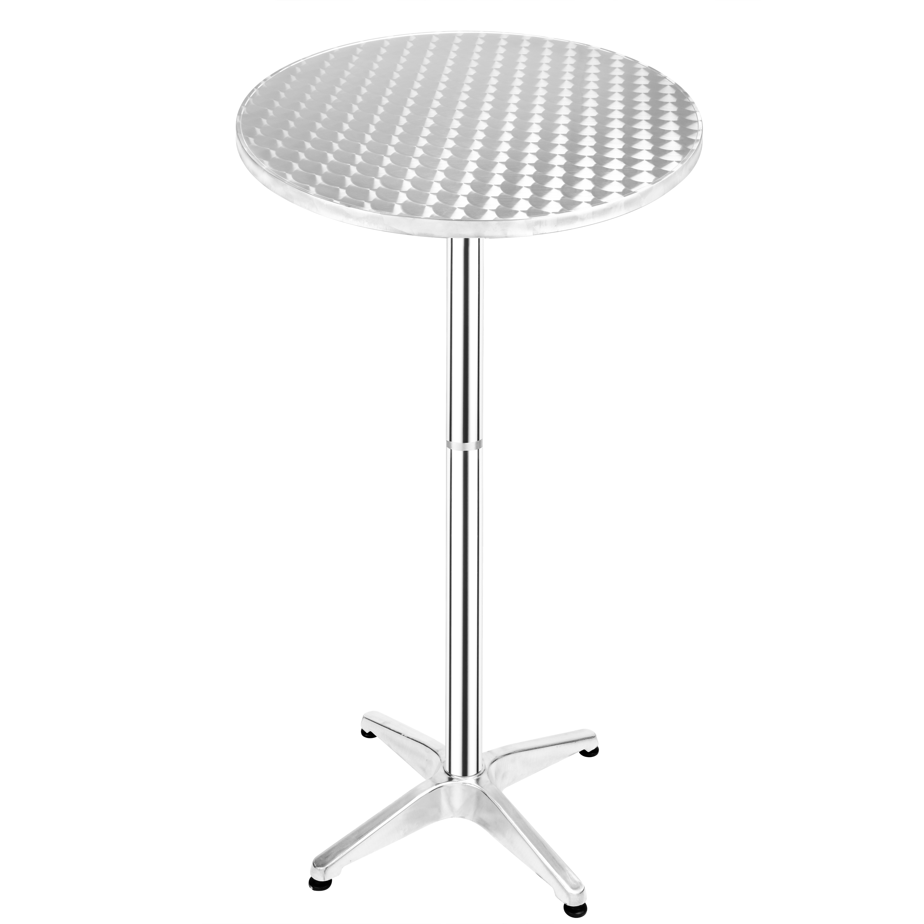23.25'' Adjustable Height Round Aluminum Indoor-Outdoor Folding <strong>Bar</strong> Table with Base w/ folding