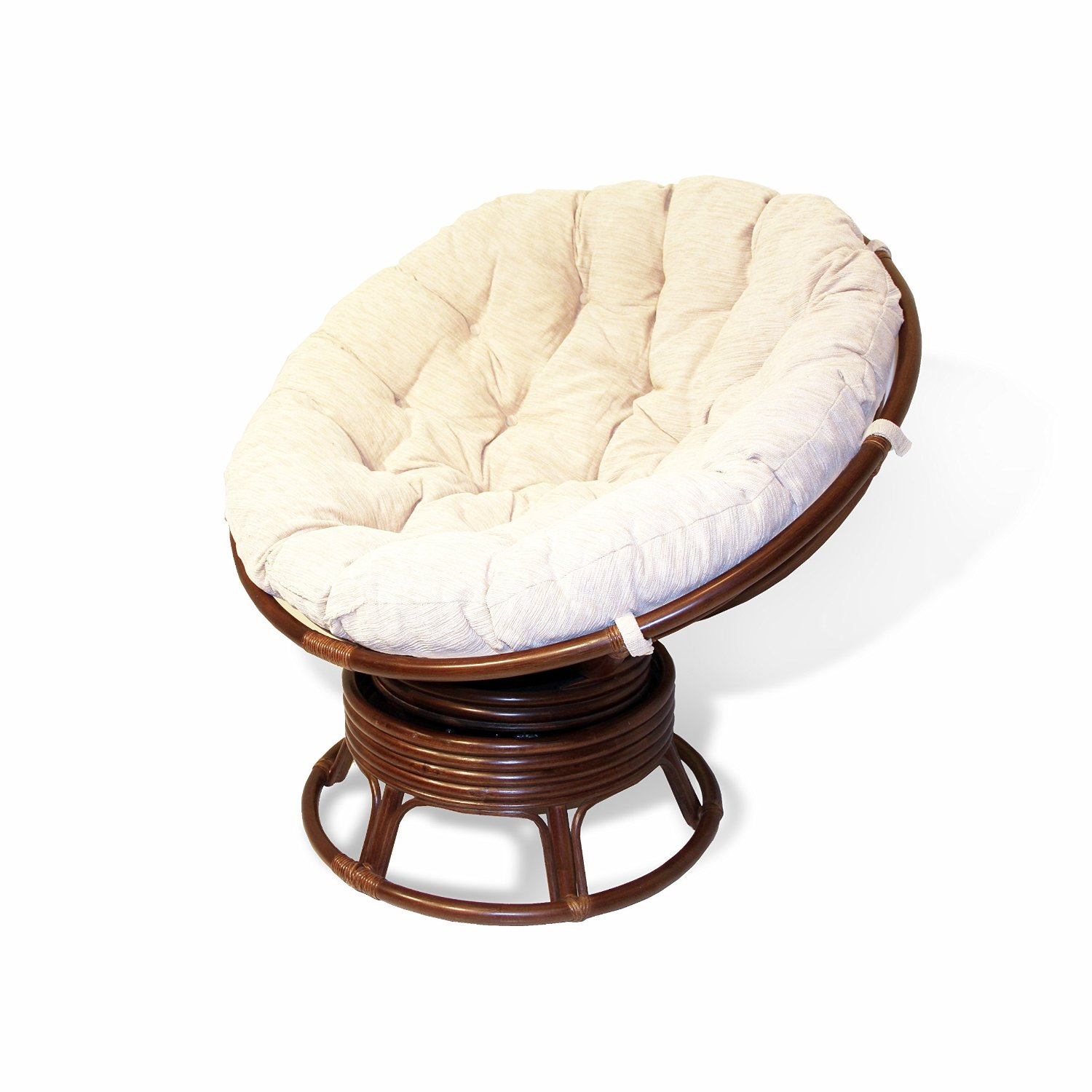 Handmade Rattan Wicker Swivel Rocking Round Papasan Chair with Thick Cushion Dark Brown
