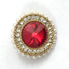 Best selling Red rhinestone diamond button BK-BUT391