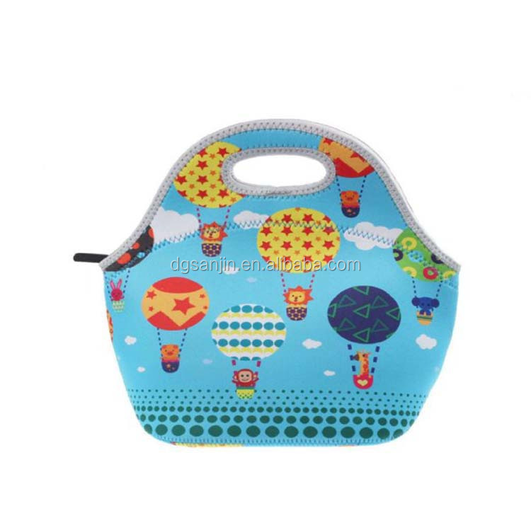 High quality stable blue color lunch bag neoprene lunch carrier pretty cute pattern for kids