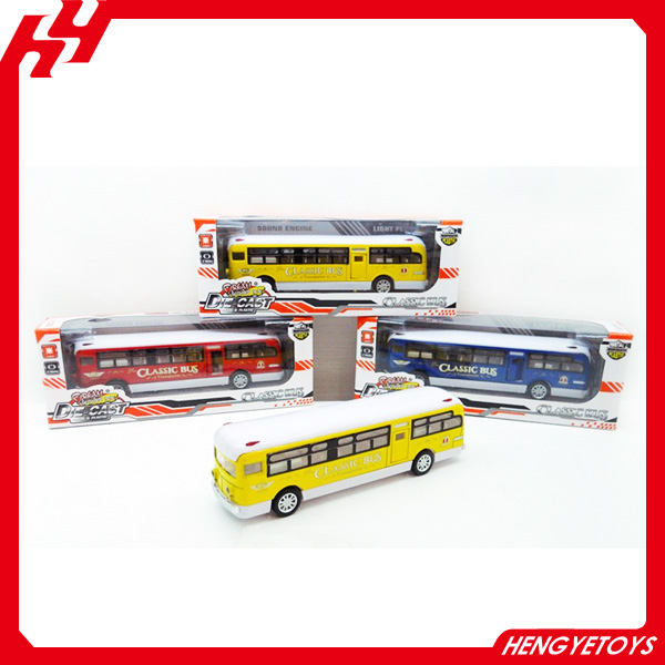 1:24 scale diecast pull back bus model classical bus toy diecast car with IC and lights