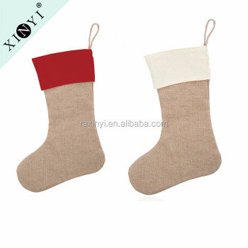 wholesale blank home decor jute burlap christmas stockings customized bulk christmas stocking - Burlap Christmas Decorations Wholesale