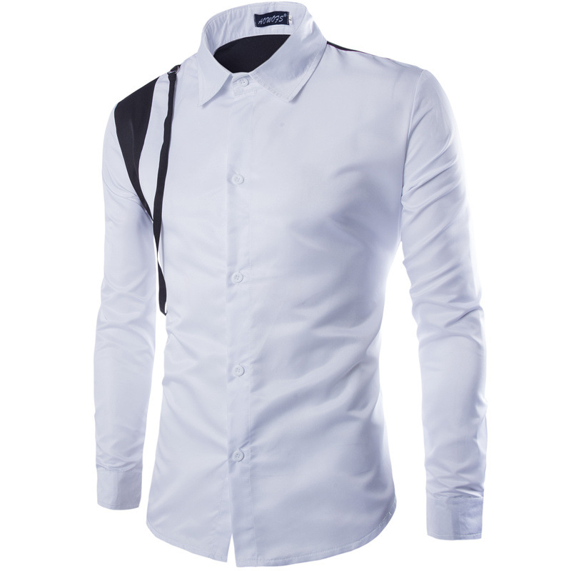 Extrêmement Buy New White Men Shirt 2015 Fashion Design Mens Slim Fit Long  GJ95