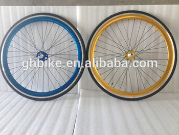 700C fixie gear bike wheel sets flip-flop hubs wheel 43mm/50mm double triple wall alloy rim