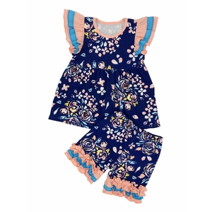 wholesale china yiwu two piece summer short sleeve peony children little girls clothing set casual dress boutique girls outfits