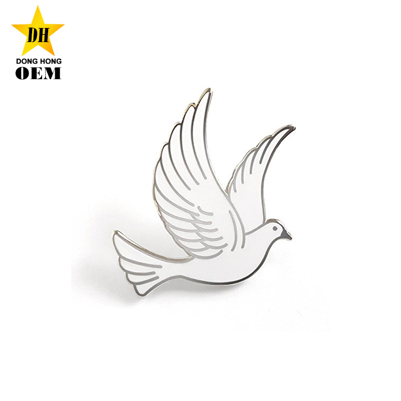 custom enamel bird souvenir metal spirit white dove lapel pins