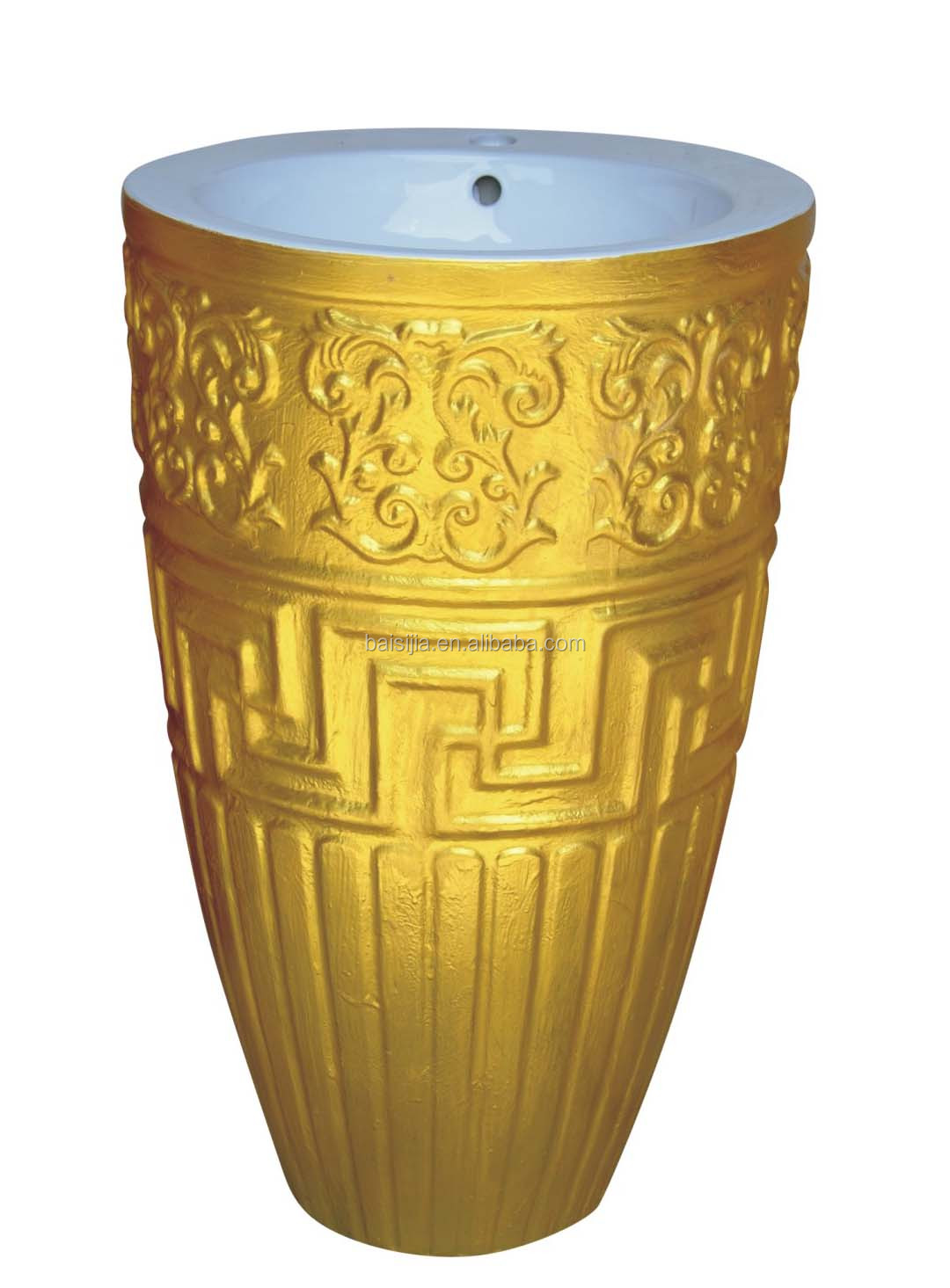 Gold color one piece floor standing pedestal basin/wash basin(BSJ-B165)