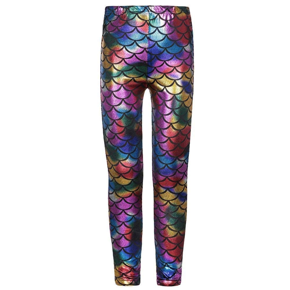 e01ca12f41b01 Janisramone New Kids Girls Mermaid Fish Scale Holographic Slimfit Metallic  Leggings Trousers