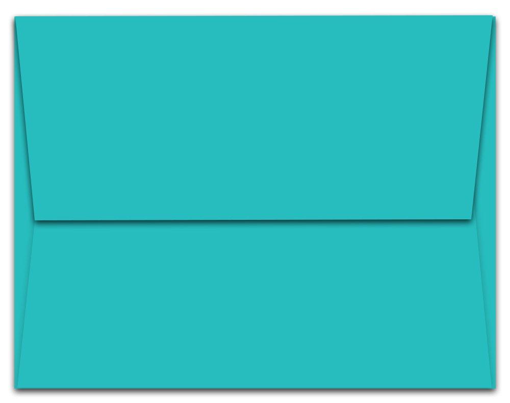 """100 Aqua Blue Ocean A7 Envelopes - 7.25"""" x 5.25"""" - Square Flap"""