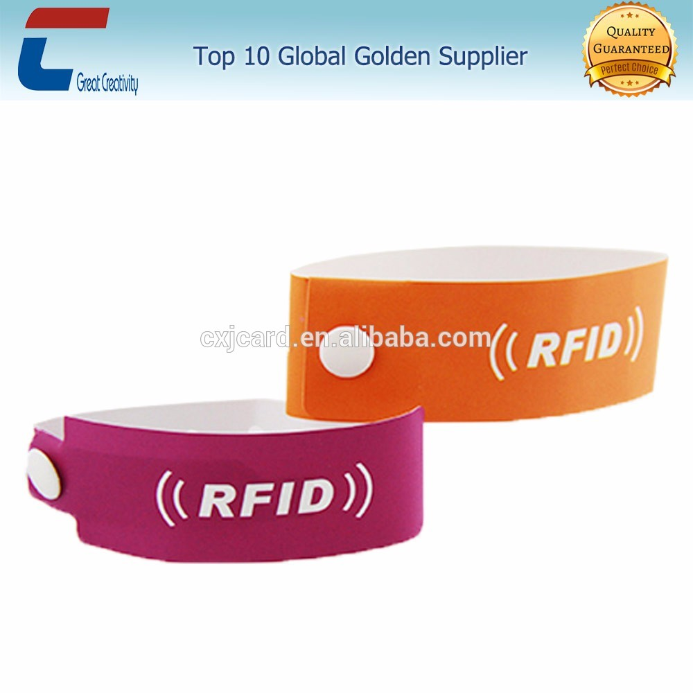 Adhesive Id Paper Rfid Bracelets Event Wristbands For Christmas Festival Wristband