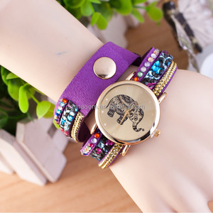Latest watches design for ladies Items Fashion Latest Popular Elephant image Long Leather Sling Chain Quartz Watches Women