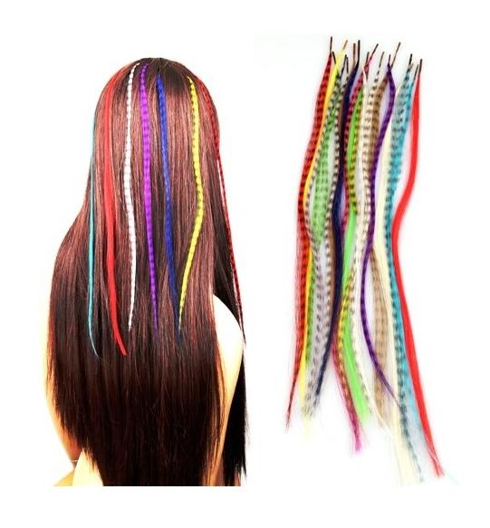 Комплект 18 цвета гризли наращивание волос перо бусины 3f083