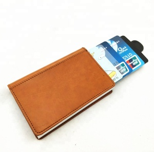 PU Leather Custom Metal Wallet Credit Card Holder, Aluminum Money Clip Wallet with rfid Blocking