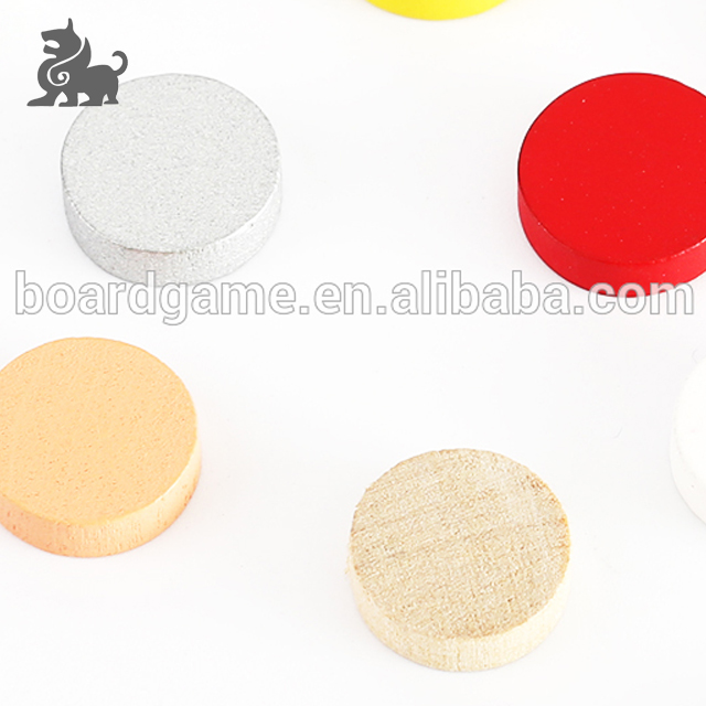 Different color wooden bits board game production