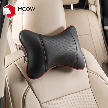 Mcow Popular Custom Car Accessories Comfortable Eco-friendly PU Leather Car Neck Rest Pillow Cushion