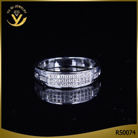 Wholesale jewelry 925 solid sterling sliver AAA zircon beautiful wedding finger ring for couple